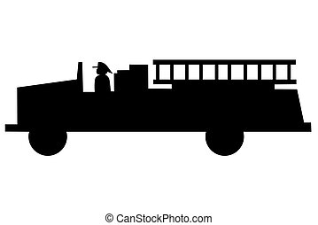 Fire Truck silhouette - A Fire Truck silhouette on white