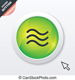 Water waves sign icon. Flood symbol. Green shiny button....