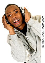 African American headset - Handsome youngster, black African...