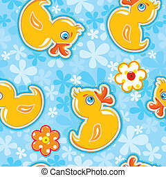 Seamless pattern with cartoon toy - yellow duck - hand made cutout images - Background for children. Ready to use as swatch.