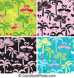 Set of seamless patterns with palm trees, butterflies and...