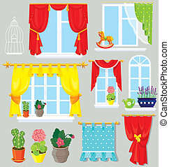 Set of windows, curtains and flowers in pots. Elements for...