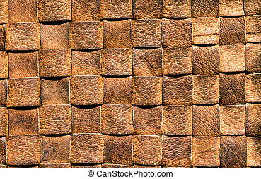 Brown leather woven background