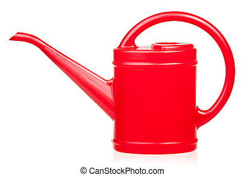 Red watering pot - Red plastic watering can on white...