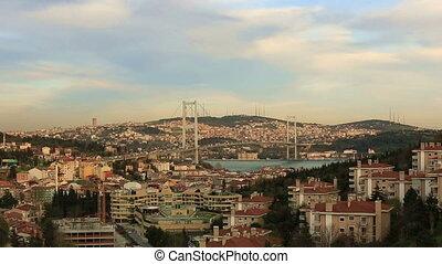 sunset at Bosporus Bridge - time lapse Bosporus Bridge in...