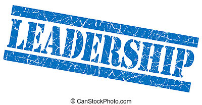 Leadership blue square grunge textured stamp isolated on...