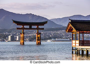 Itsukushima Shrine famous place at Miyajima. Hiroshima....