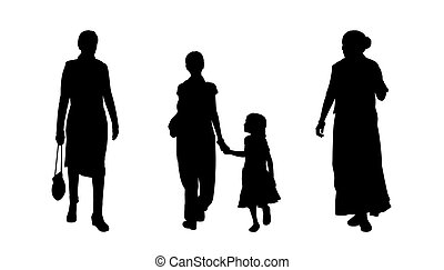 indian people walking silhouettes set 4 - black silhouettes...