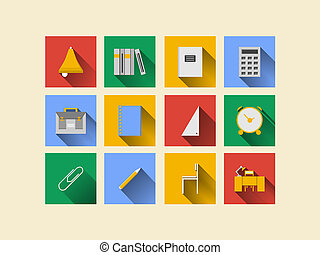 Flat icons for school supplies - Square colored icons for...