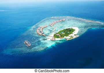 Atolls and islands in Maldives from aerial view - Group of...