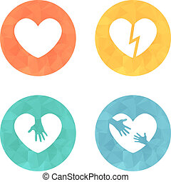 Different heart icons collection on colored buttons