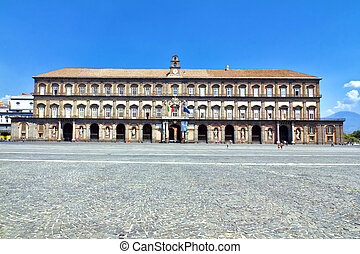 Naples - Royal Palace in Naples, Piazza del Plebiscito,...