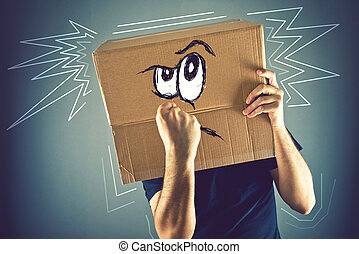Man with cardboard box on his head and doodle drawing of...