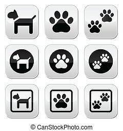 Dog, paw prints vector buttons set