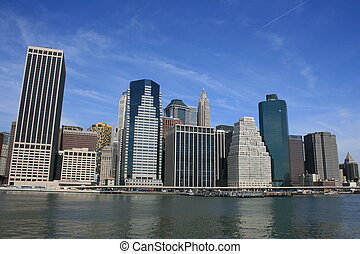 New York - Lower Manhattan skyline along the East River.