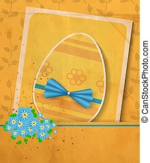 Vintage Easter card Paper egg with blue bow, card with white...