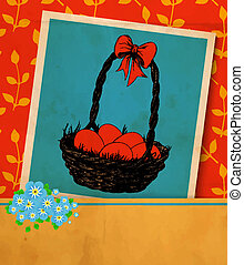 Easter card. Old vintage greeting card -hand -drawn basket...