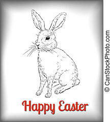 Easter Rabbit. Hand -drawn rabbit on white background....