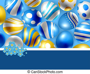Easter eggs and foget- me- not flowers Blue Easter card with...