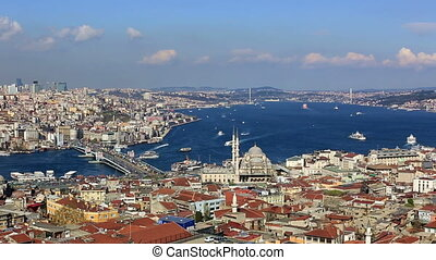 time lapse Istanbul City - time lapse clouds and sea traffic...