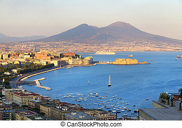 Naples, Italy - Panorama of Naples, view of the port in the...