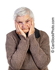 The hope - Picture of an elderly woman touching her head