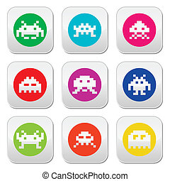 Space invaders, 8-bit aliens round - Vector colorful set of...
