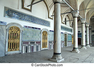 Topkapi palace - Wall and columns in Topkapi palace in...