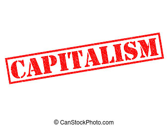 CAPITALISM red Rubber Stamp over a white background.