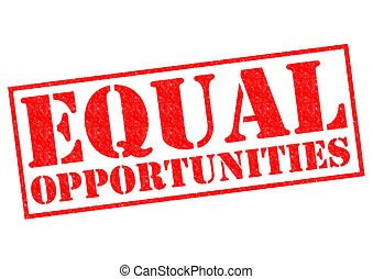 EQUAL OPPORTUNITIES red Rubber Stamp over a white...