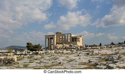 Ancient Acropolis, tracking shot - time lapse Tourist...