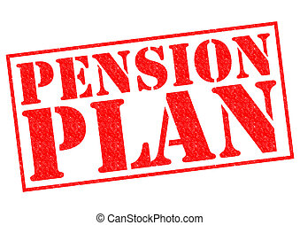 PENSION PLAN red Rubber Stamp over a white background