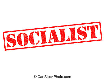 SOCIALIST red Rubber Stamp over a white background