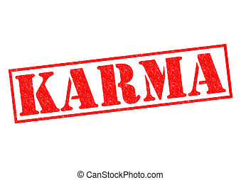 KARMA red Rubber Stamp over a white background.