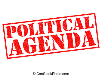 POLITICAL AGENDA red Rubber Stamp over a white background.