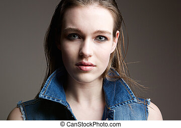 Young woman with serious expression