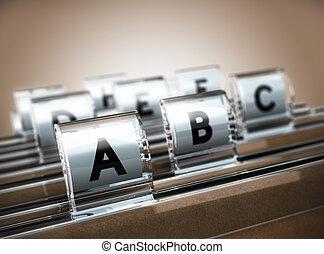 Alphabetical Index - Folder tab organized alphabetically...