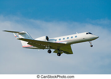 private jet landing - small private jet landing with gears...