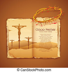Jesus Christ on cross on Good Friday Bible - llustration of...