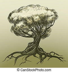 The tree - Illustration of tree as allegory of nature drawn...
