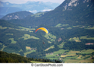 Paragliding - Paraglider in the austrian alps.