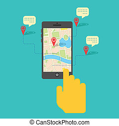 GPS service on Mobile Phone - illustration of hand clicking...