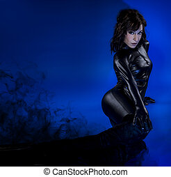 Sci-fi woman in black latex, dark smoke - Sci-fi woman in...
