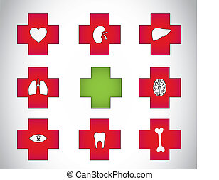 red green medical plus icon symbols - red medical plus icon...