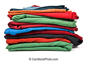 Stack of clothes - Stack of color clothes isolated on white...