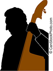 Man playing Double Bass or Contrabass - Silhouette of Man...