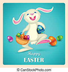 Happy Easter - illustration of Easter bunny holding basket...