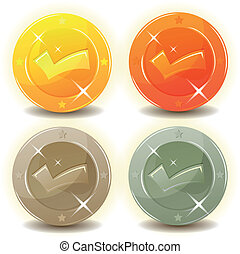 Credit Coins Set For Game Interface - Illustration of a set...