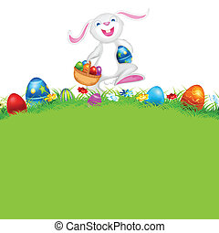 Happy Easter - illustration of happy bunny walking with...