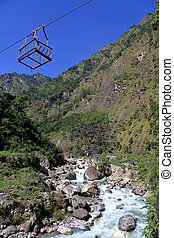 Cable car - River and cable car in Nepal